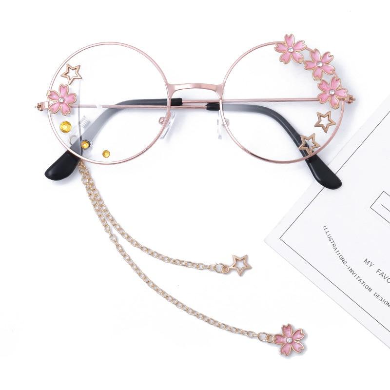 Cute Sakura Pendant Clear Optical Glasses Frame Women Round Girls Retro Eyeglasses Gothic Handmade Eyewear Glass Oculos De Gafas