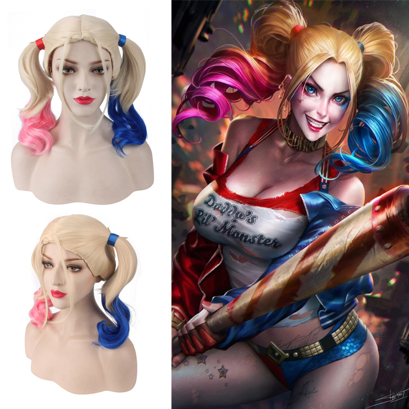 Harleen Quinzel Cosplay Batman Joker Suicide Squad Harley Quinn Wig For Halloween Cosplay Costumes