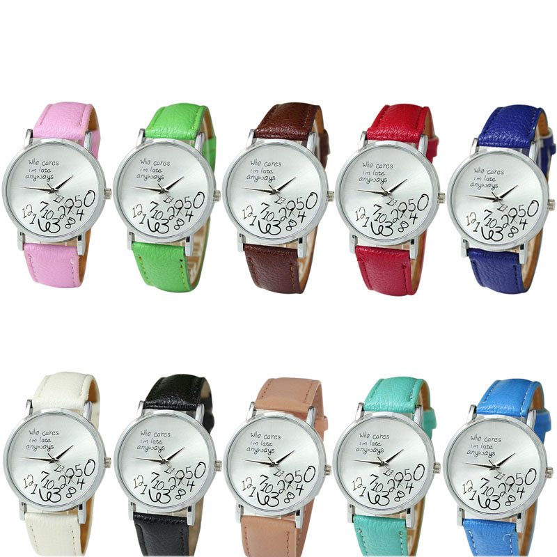 Casual Female Women Watches Women Who PU Leather Cares I am Late Anyway Letter Print Ladies Watch Relogio Feminino Clock 2018 new models male luxury watch fashion women leather watch whatever i am late anyway letter watches relogio feminino