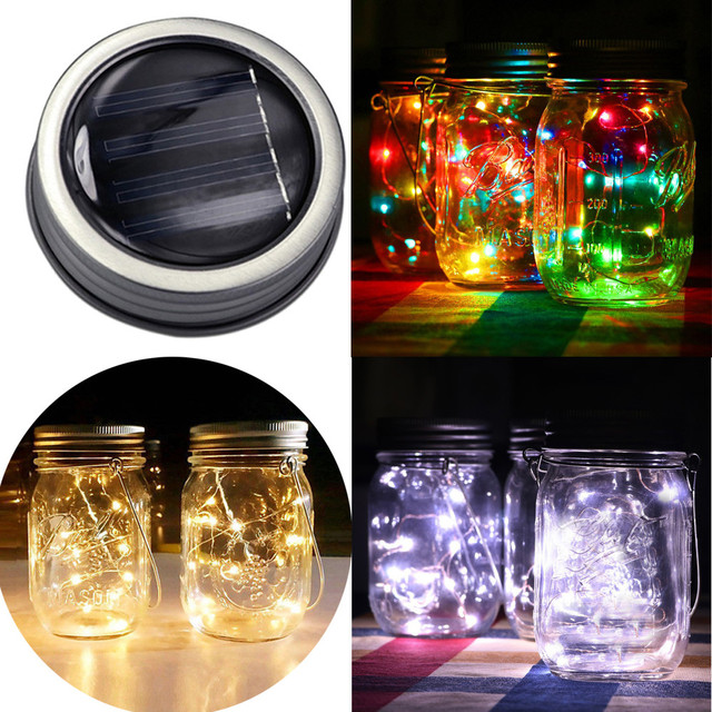 US $2.48 16% OFF|String Lights LED Fairy Light Solar For Mason Jar Lid  Insert Color Changing Garden Decor Patio Lights Lamparas In Lighting  Strings ...