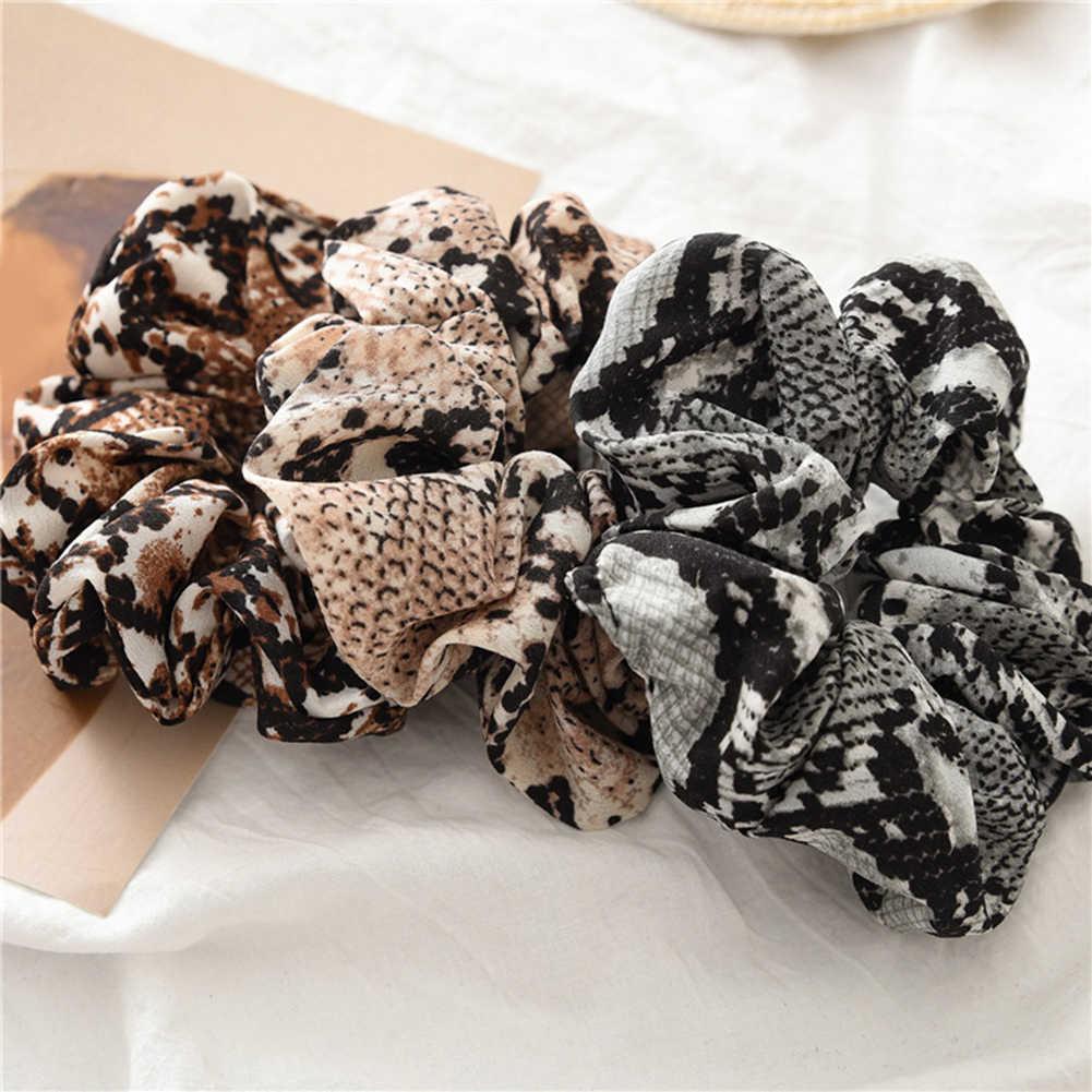 Mujeres Scrunchies serpiente/leopardo bandas elásticas para el cabello damas estiramiento Cola de Caballo titular diadema estampada sombrero sólido accesorios para el cabello