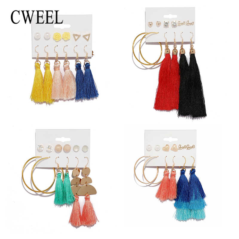 CWEEL Long Tassel Drop Earrings Set For Women Female 2019 Tassels Earings Fashion Jewelry Brincos Statement Bohemian Earrings