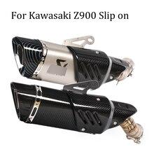 Deslizamento em para kawasaki z900 fibra de carbono + aço inoxidável silenciador do escape da motocicleta modificado com tubo de ligação do meio
