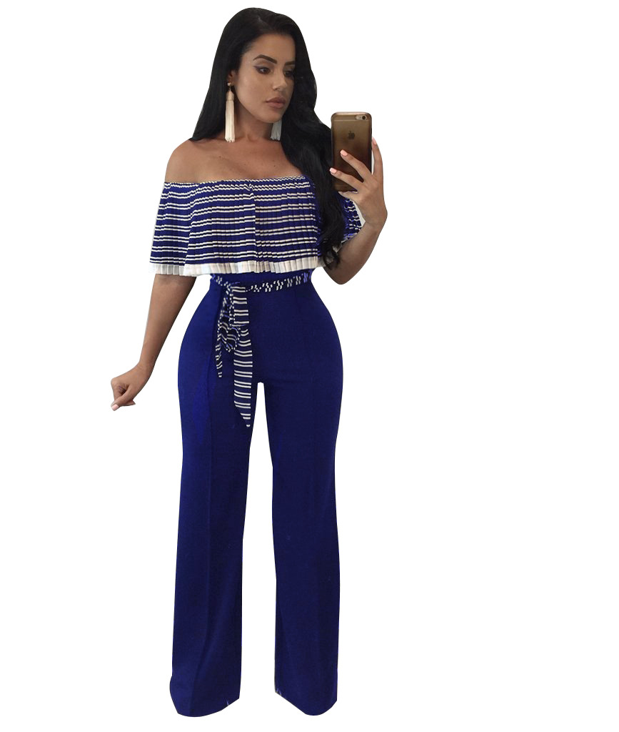 669b0898c66c Striped Ruffles Wide legs Jumpsuit Female Elegant Off Shoulder Party Long  Jumpsuits Overalls Sexy Rompers Womens
