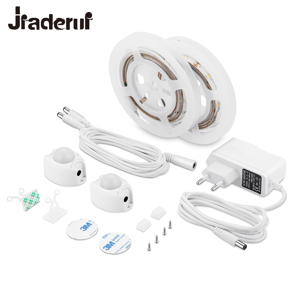 Jiaderui Motion Activated Sensor Double Bed Lights 2x1.2M LED Strip Sensor Night Light 12V Cabinet Lights with Auto ON/OFF Timer photoelectric switch e3f ds30y2 30cm adjustable diffuse ac 220 v two wire normally closed