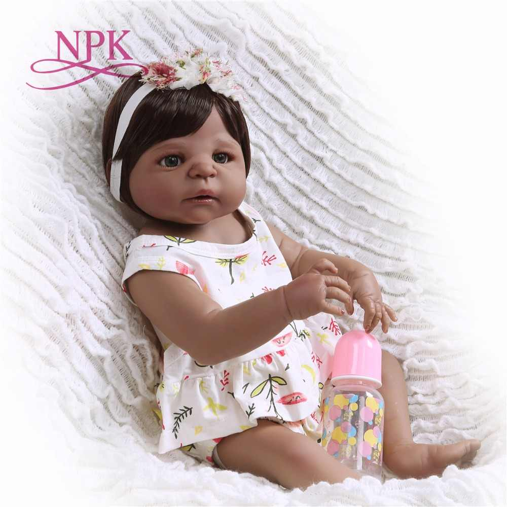 NPK New Arrival 55 cm Silicone Full Body Reborn Doll Real Life black Princess Baby Doll For Xmas Gift Kid African American doll