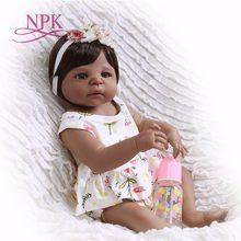NPK-Muñeca de cuerpo entero de silicona de 55 cm, muñeca princesa bebé negra de la vida Real, regalo de Navidad para chico, muñeca Afroamericana