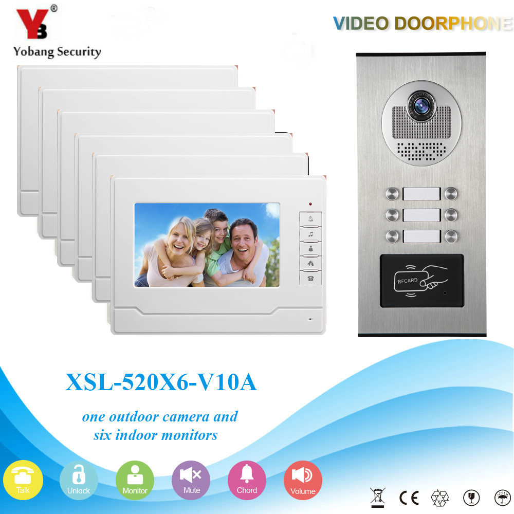 YobangSecurity 6 Unit Apartment RFID Access Control Video Intercom 7Inch Wired Video Door Phone Doorbell Intercom Camera System 7 inch password id card video door phone home access control system wired video intercome door bell