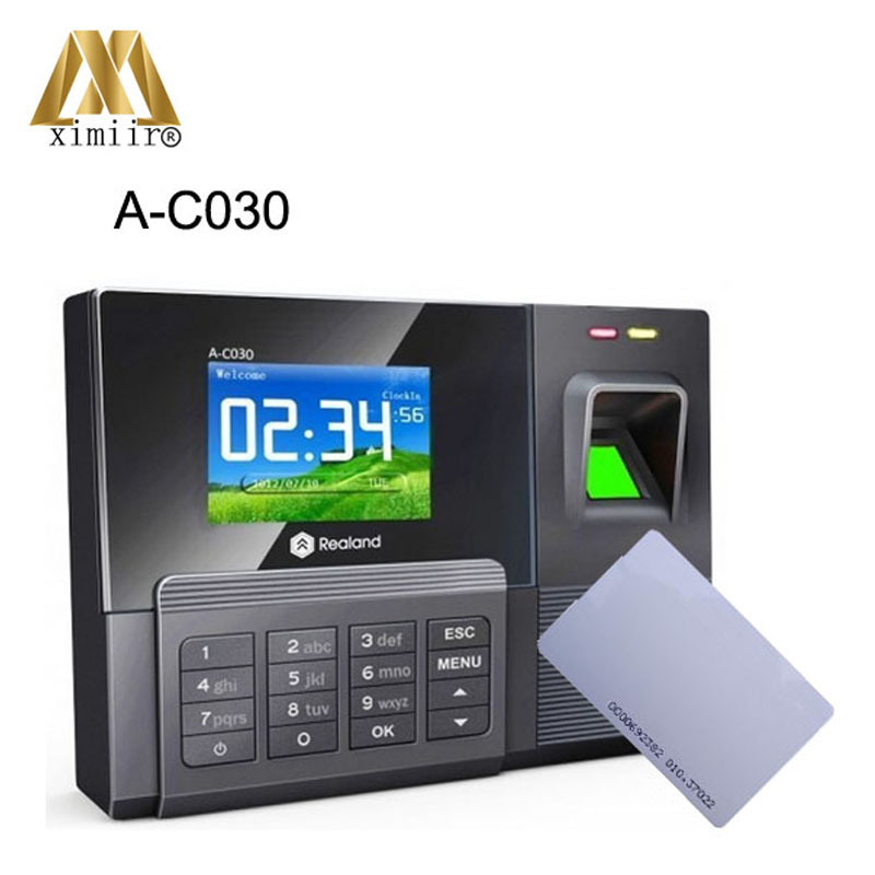 2.8 Inches TFT Screen USB Flash Drive Up/download A-C030 Fingerprint & Password & RFID Card Time Attendance Time Clock Recorder