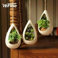 YeFine Ceramic Hanging Pots Creative Decorative Bonsai Pots Hanging Flower Pots With Artificial Plants Home And Office Decor