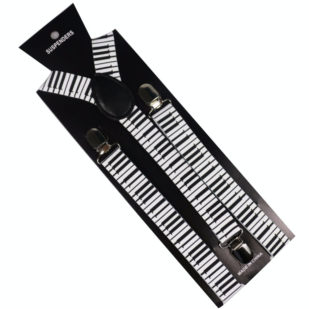 Winfox Unisex Adult Clip-on Suspenders Black White Piano Keyboard Pattern Elastic Y-back Suspenders Braces For Women Men