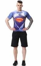 Red Plume Men's Superhero Superman Compression Fitness Shirt Sports Jogging Short Sleeve T-shirt
