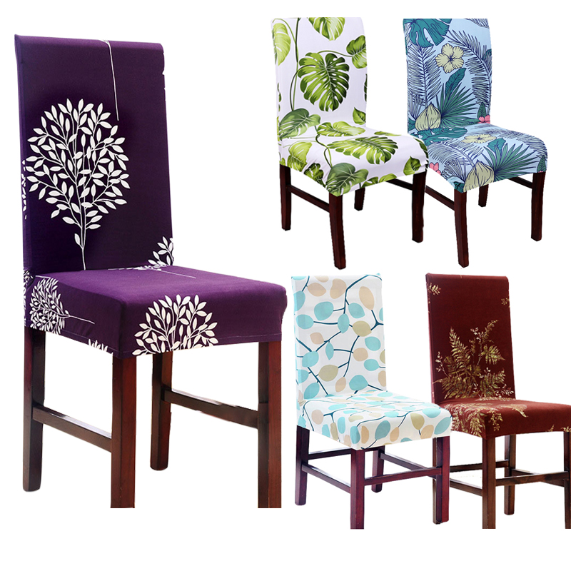 Dining Chair Covers Aliexpress Desk Ballard Design Com Buy Hyha Minimalist Plant Leaves Flower Pattern Protective Slipcover Case Spandex Anti Dirty Elastic
