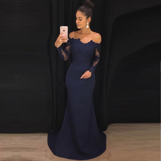 c2e9c1eeed9 Navy Blue Mermaid Prom Gowns Off The Shoulder Long Sleeves Appliques Satin  Custom Made Formal Women Dresses