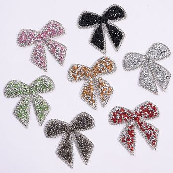 Bow-knot Beaded Diamond Rhinestone Patches Crystal Badges Clothes Bag Patches clothes Diy Ironing Stickers Clothing Accessories image