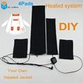 4 pcs bateria clothing para aquecida almofadas aquecidas diy seu próprio projeto jaqueta para manter o corpo quente para casacos de inverno calor soberba DouWin