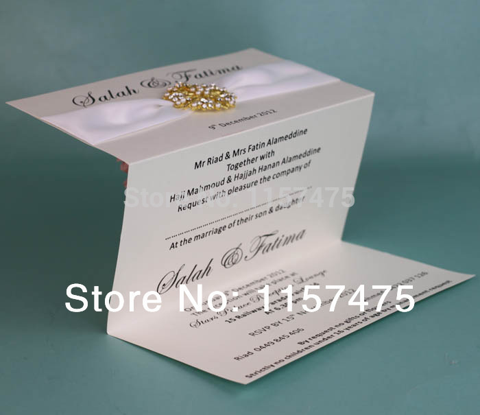 aliexpresscom buy hi1002 hot sale fantastic tri fold wedding invitations design with ribbon and brooch from reliable invitation design suppliers on