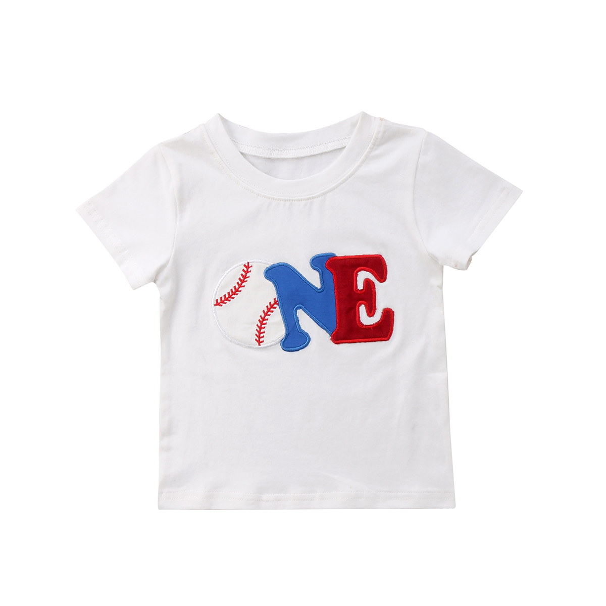 Fashion Baby Girl Boy T-shirt 2018 New Kids Birthday Clothes Infant Baby Boy Clothes Summer Tops Baseball Printed Top T-shirts