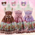 Soft lolita lourie onta print bow jsk1 suspenders one-piece dress