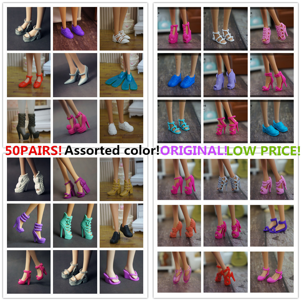 Wholesale 50 Pair / Lot New Orignal Shoes For Barbie Doll High Quality Fashion Doll Accessories Flats Shoes Sanndas High Heels