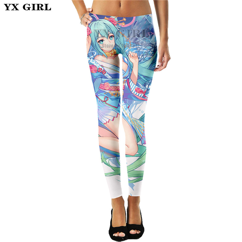 YX Girl Plus Size 3d Print Cartoon Girl Hatsune Miku Womens Sex Leggings Women Legging Sex Pant Workout Mid Waist Leggings