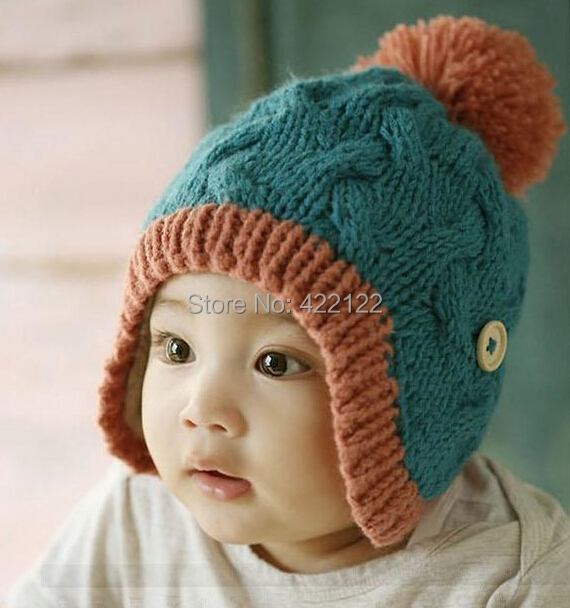 Winter Ear Protector Knitted Hats For Boy/girl/kits Hats,infants Caps Beanine Chilldren-Dot Turtleneck 1pcs/lots  MC01