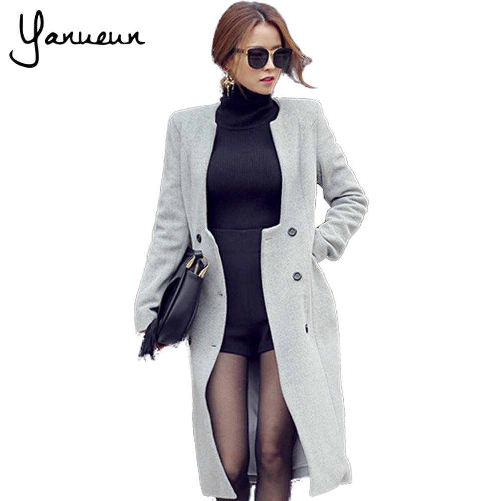Yanueun Korean Fashion 2017 New Autumn Woolen Coat Trench ...