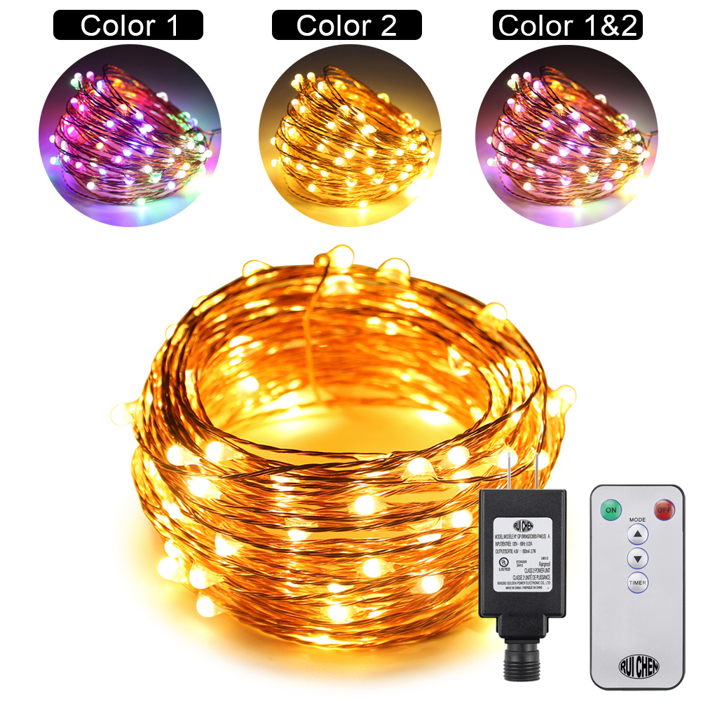 10m 100LEDs 10 Modes Copper Wire Decorative Fairy Lights Dual Color LED String Lights Color Changing(US EU UK) Plug in+Remote