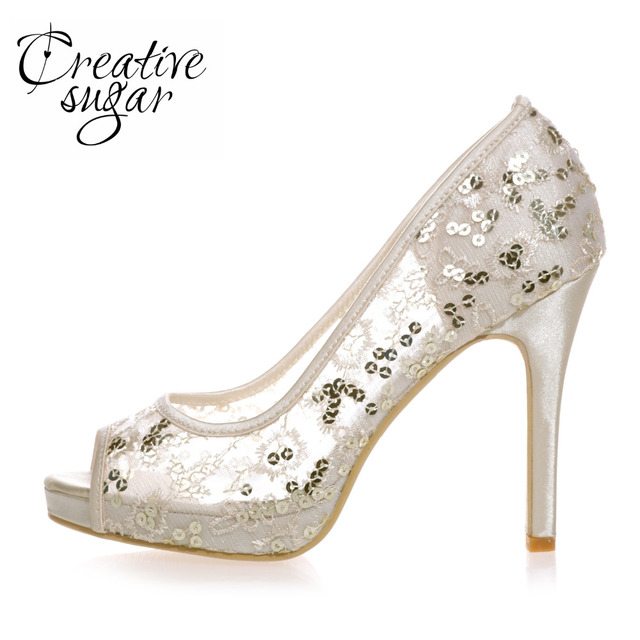 Creativesugar See Through Mesh Sequins Open Toe Woman Pumps Wedding Party Prom Tail Sky Blue Hotpink