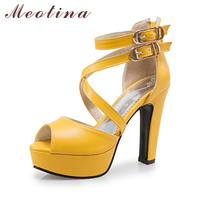 Meotina Shoes Women Sandals Rome Summer Platform Shoes Buckle Strap High Heel Gladiator Sandals Zip White