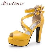 74b09b9218a1d8 Meotina Chaussures Femmes Sandales Rome D'été Plate-Forme Chaussures Boucle  Sangle À Talons Hauts Gladiateur Sandales Zip Blanc .