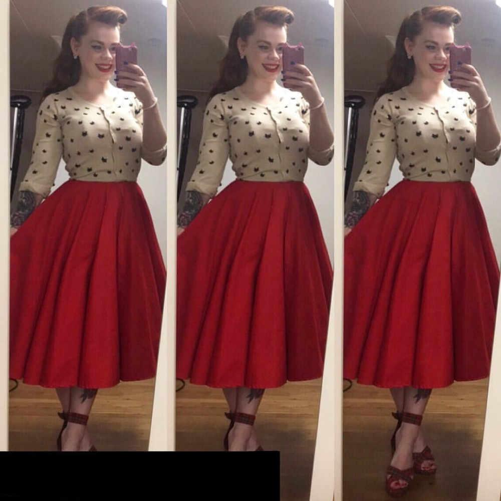 15e6b6340c8 35- women vintage 50s inspired circle swing midi skirt in red black plus  size rockabilly