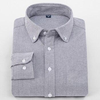 22312c474 Oxford de los hombres estándar-botón de ajuste-vestido de cuello camisa  parche único bolsillo en el pecho de Smart Casual de manga larga 100%  camisas de ...