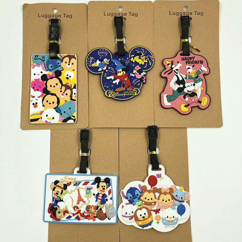 Disney Cartoon Mickey Mouse Travel Accessories Travel Tag Luggage Minnie Suitcase ID Addres Portable Label Pendant