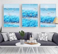 Abstract Landscape Forest hills Seagulls Pattern Sky blue Painting with Canvas in No Frame living room Decoration Frameless