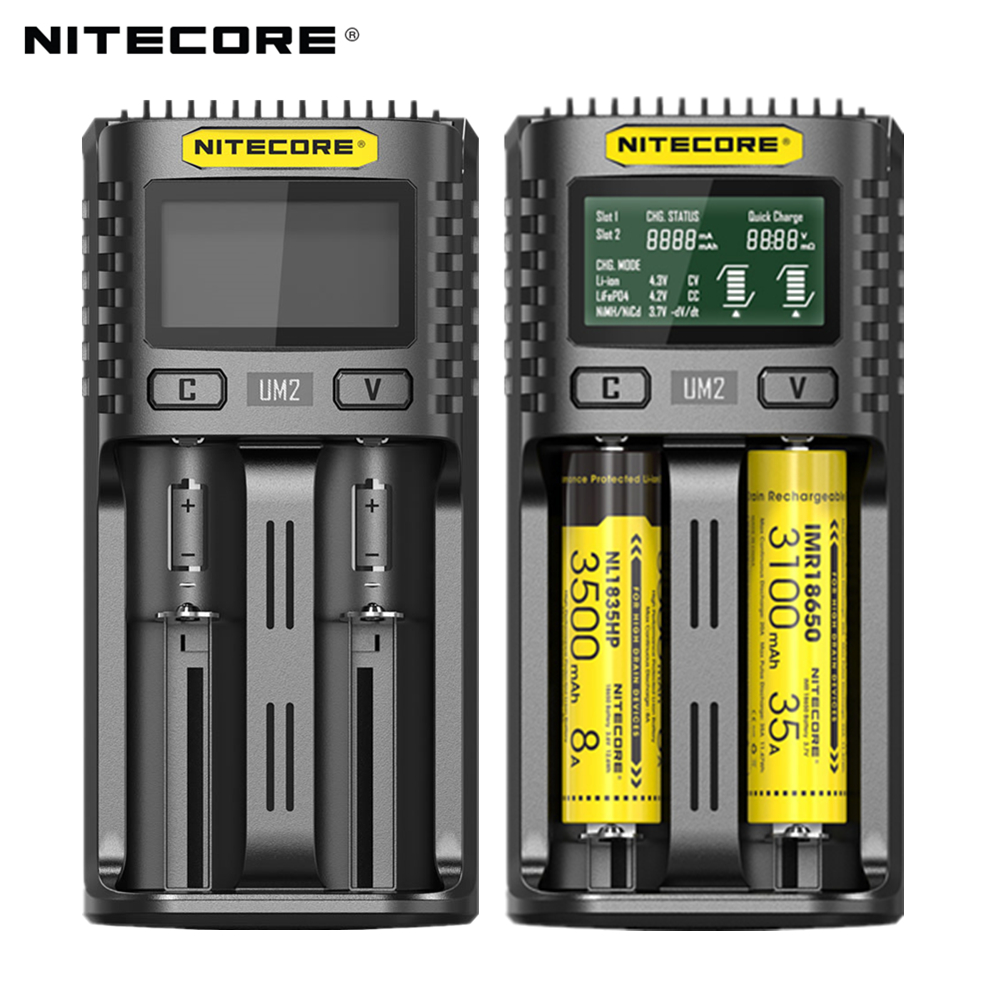 NITECORE UM2 Automatic Universal 3A Quick Charger Intelligent USB Dual-Slot Charger LCD Display Li-ion IMR Battery 18650 21700