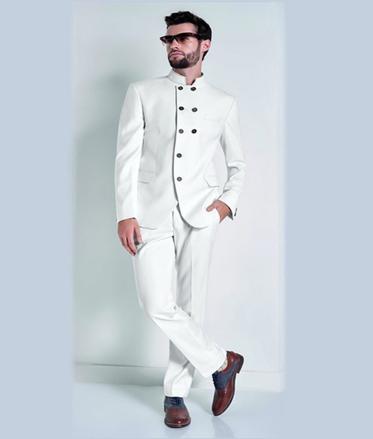 Latest Coat Pant Designs White Groom Tuxedos Double Ted Blazer India Style Mens Wedding Party Suits