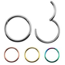 1PC G23 Titanium 14G Nose Rings Hinged Segment Ring Septum Clicker Piercing Nose Earring Tragus Pircing Nariz Body Jewelry(China)