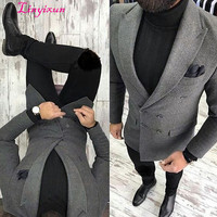 Linyixun Latest Coat Pant Designs Grey Tweed Men Jacket Slim Fit Double Breasted Blazer Custom Groom Fashion Prom Suits Terno