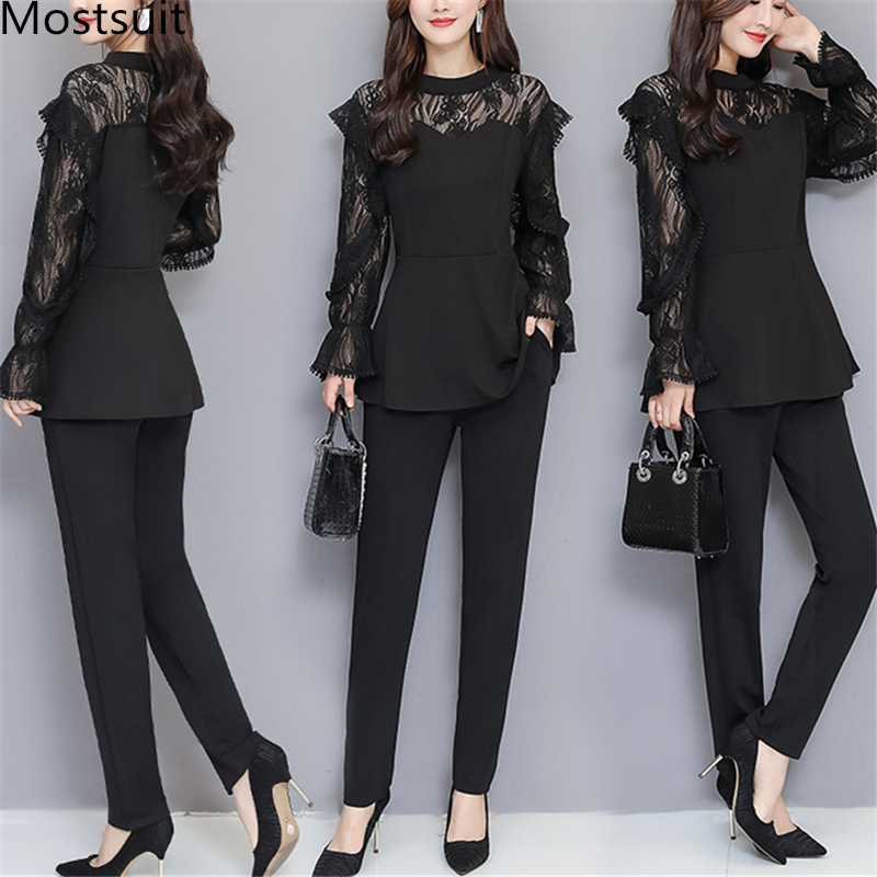 Xl-5xl Plus Size Black Lace Two Piece Women Sets Flare Sleeve Tunic Tops+pants Trousers Sets Suits Office Elegant Women's Sets 29