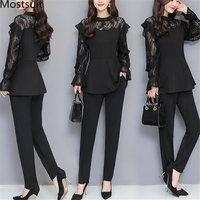 Xl 5xl Plus Size Black Lace Two Piece Women Sets Flare Sleeve Tunic Tops+pants Trousers Sets Suits Office Elegant Women's Sets