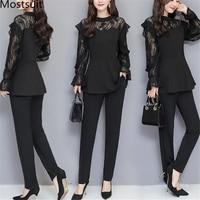 Xl 5xl Plus Size Black Lace Two Piece Women Sets Flare Sleeve Tunic Tops+pants Trousers Sets Suits Office Elegant Women's Sets