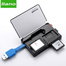 llano 4 in 1 USB 3.0 Smart Card Reader for SD / TF Memory Cards Flash Multi Card Reader 2 Cards Simultaneous Read Write