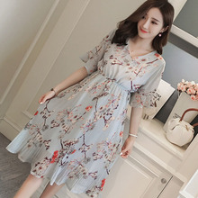 6f4e46f62559 Pregnant Women Midi Pleated Chiffon Dress Floral Designs Summer Pregnancy  Clothes Loose Plus Size Maternity Dresses