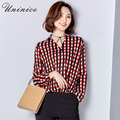 2017 Plaid Chiffon Blouse Shirt Women's Clothing Loose Notched Shirt Women Blouse Retro Slim Green/Red Shirt Bottoming Tops