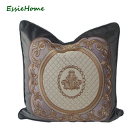 ESSIE HOME Luxury Grey Velvet Cushion Cover Pillow Case With High End Embroidery Pattern Piping Velvet Cushion