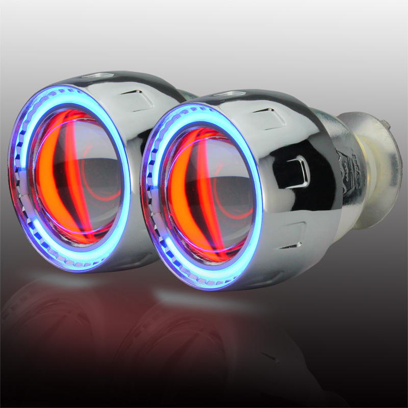 Wholesale price 2.5 inch Bi-Xenon HID Projector Lens angel eyes universal for headlight parking H1/H4/H7/H3/9005/9006 royalin car styling hid h1 bi xenon headlight projector lens 3 0 inch full metal w 360 devil eyes red blue for h4 h7 auto light