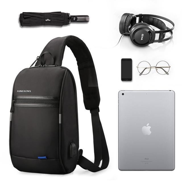 Kingsons Male Chest Bag Men's Crossbody Bag Small For Men Single Shoulder Strap Back pack Casual Travel Bags