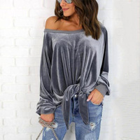 Autumn Winter Women Tops Off The Shoulder Long Sleeve Women New Fashion Coral Fleece Velvet Sweatshirts AB279