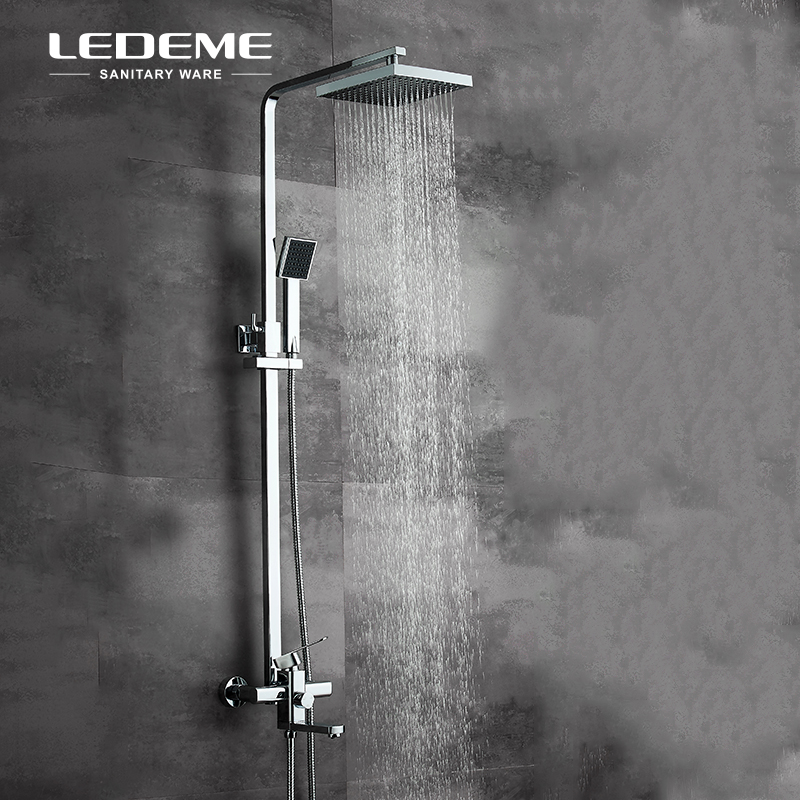 LEDEME Chrome Finished Square Bath Shower Faucet Sets with Big Rainfall Shower Head and ABS Handhead Shower Bathtub Shower L2433-in Shower Faucets from Home Improvement    2